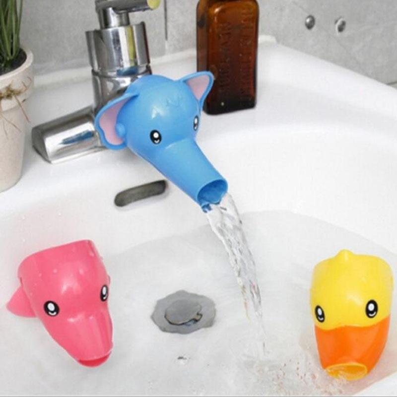 Mode New Kids Le lavage des mains Aide Cartoon Elephant Dolphin Canard Wasserleitung Tap Extension pour bébé périphérique Funny Bath Wash
