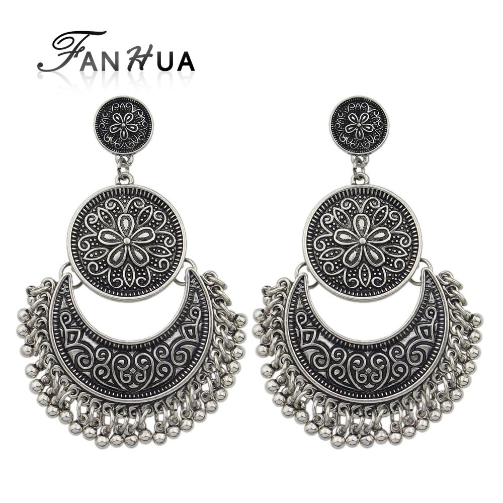 2018 FANHUA Jewelry Chandelier Earrings Antique Gold Color Silver Color Big  Geometric Ethnic Statement Earrings Fashion Accessories From Jacky20160619,  ... - 2018 FANHUA Jewelry Chandelier Earrings Antique Gold Color Silver