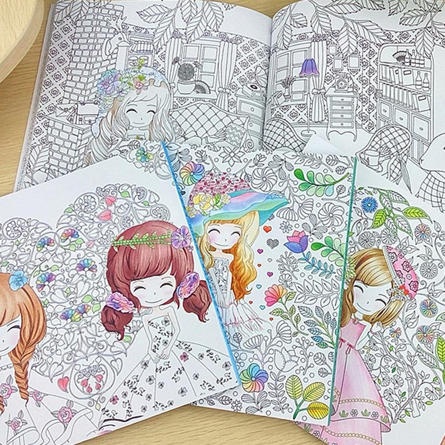 96 pages beautiful flower girl antistress coloring books for adults kids children relieve stress secret garden painting book coloring books for adults - Kids Painting Book
