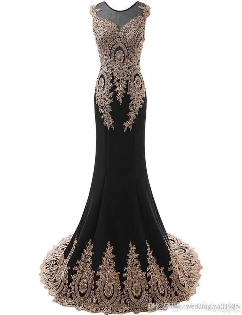 Mermaid's formal evening dress gold lace decals 2016 sexy new boat collar pendulum long formal prom dress evening gown woman
