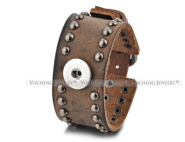 Bracelet interchangeable en cuir avec bijoux NOOSA au gingembre pour bouton de rivet style 18mm VOCHENG NN-593