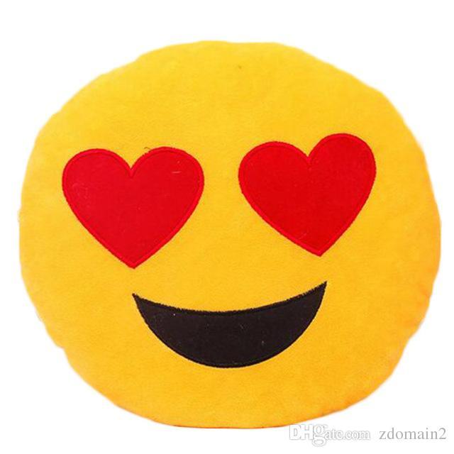 Cute Soft Emoji Cushion Smiley Seat Cushions Pillow Facial Emotions Pillow Round Cushion Stuffed Plush Toy Gift for Kids 33*33cm