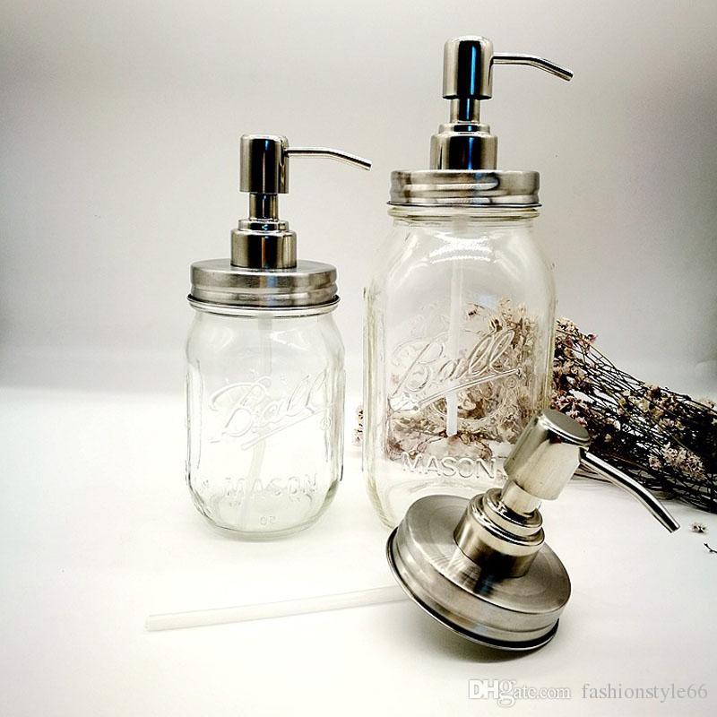Envío gratis DIY Mason Jar Dispensador de jabón tapa y collar de la bomba para loción líquida Mason sin incluir el frasco