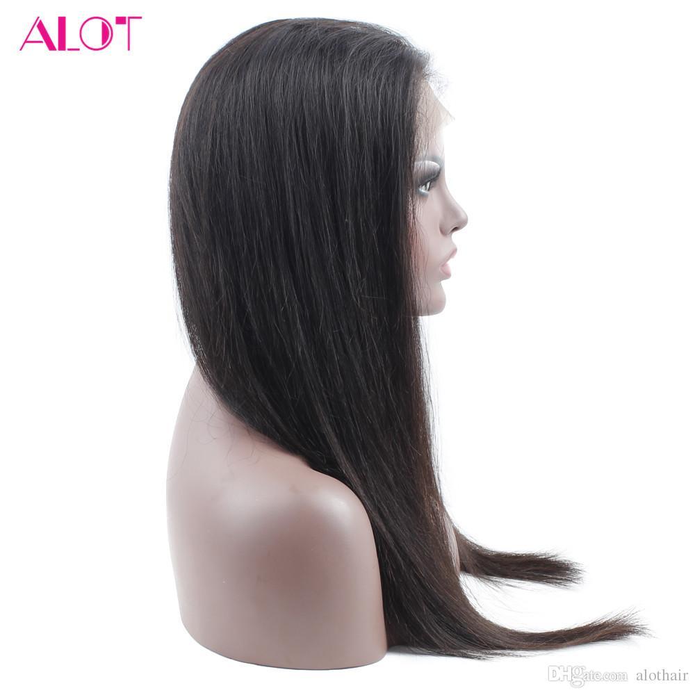 Schlussverkauf! Gerade 360 Menschenhaar-Perücken für schwarze Frauen-brasilianisches Jungfrau-Haar 360 Spitze-Front-Perücken 22.5 * 4 * 2 gerade Menschenhaar-Perücken