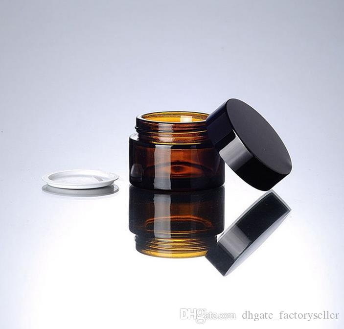 30g brown amber glass cream jar with black lid, 30 gram cosmetic jar,packing for sample eye cream,30g bottle