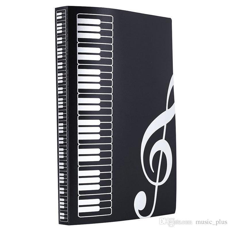 Music Sheet File Paper Documents Portadocumenti portadocumenti in plastica formato A4 40 tasche -Nero