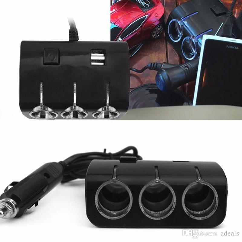 12 V Araba Çakmak Fişi Güç Adaptörü Çıkışı 120 W 5 V Çift USB Portu 3 Yollu Araç Çakmak Soket Splitter Şarj