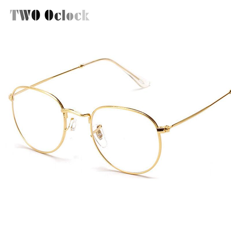 2018 Wholesale Two Oclock Fashion Gold Metal Frame Eyeglasses For ...