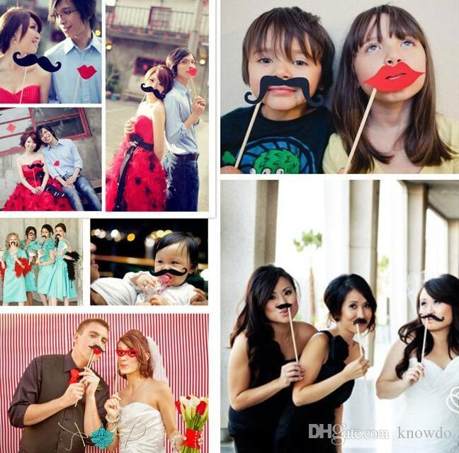 Photo Booth Wedding Party Decorations PhotoBooth Props Hat Mustache On AStick Wedding Favor Birthday Party Mask Decoration