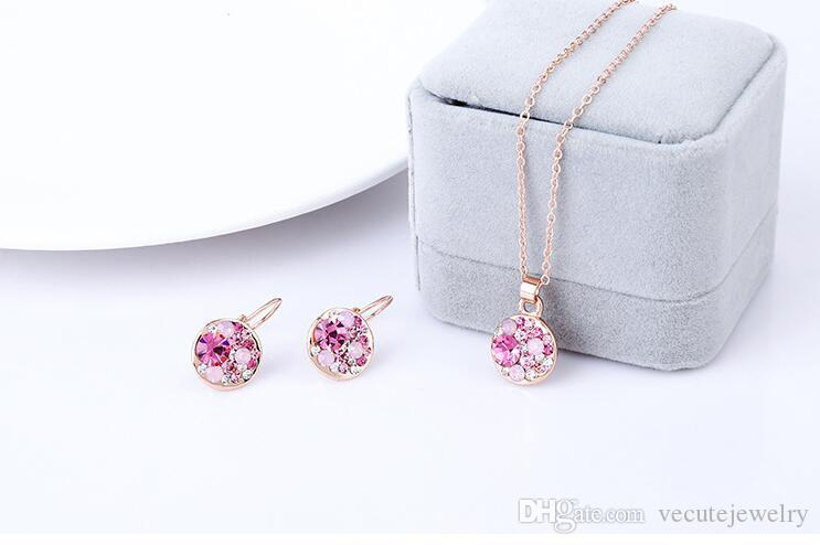 18K Rose Gold Plated Austrian Crystal Jewelry Set for Women Round Necklace Earrings Sets conjuntos de joyeria Wedding jewelry set bridal set