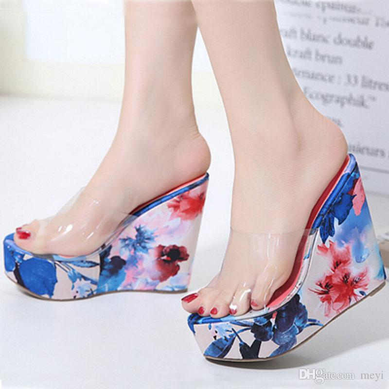 2017 Top Slippers For Women Transparent High Heels Slipper Wedge ...