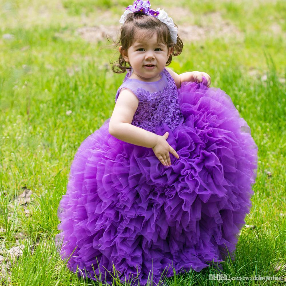 2021 New Girls Pageant Dresses Purple Pink Toddler Sheer Crew Neck Lace Appliques Ball Gown Princess Cute Baby Girls Flower Girl Dress