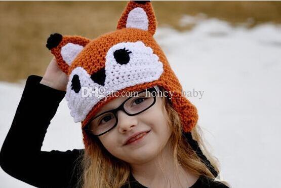 Weihnachten häkeln Fox Hut Baby Boy Girl Strickmütze Winter Neugeborenen Kleinkind Tier Caps Neugeborenen Kinder Kinder Beanie Baumwolle Foto Prop