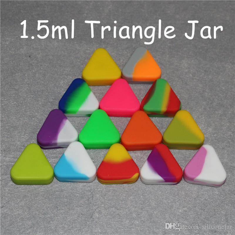 wholesale silicone Wax Container 1.5ml triangle Silicon containers wax jars dab tool storage oil Jars Concentrate Case for vaporizer vape