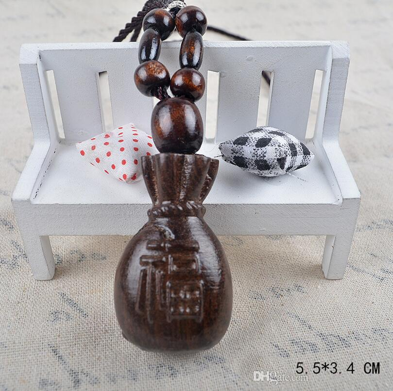 High quality Original national wind retro handmade wood necklace cotton and linen rope WFN469 with chain a