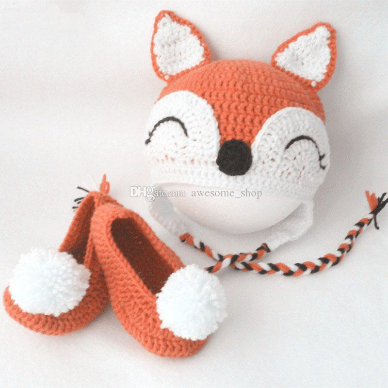 Sleeping Fox Costume,Handmade Knit Crochet Baby Boy Girl Animal Hat&Pompom Booties Set,Unique Gift for Baby,Toddler Photo Prop
