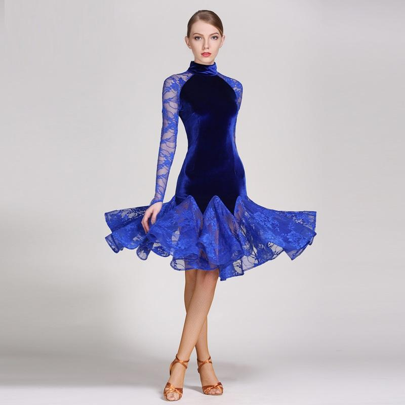 edfd991b Compre Vestido De Baile Latino De Encaje Traje De Baile Moderno Vestidos De  Baile Latino Para Mujer Vestido De Baile De Tango Salsa De Rumba De Mujeres  ...