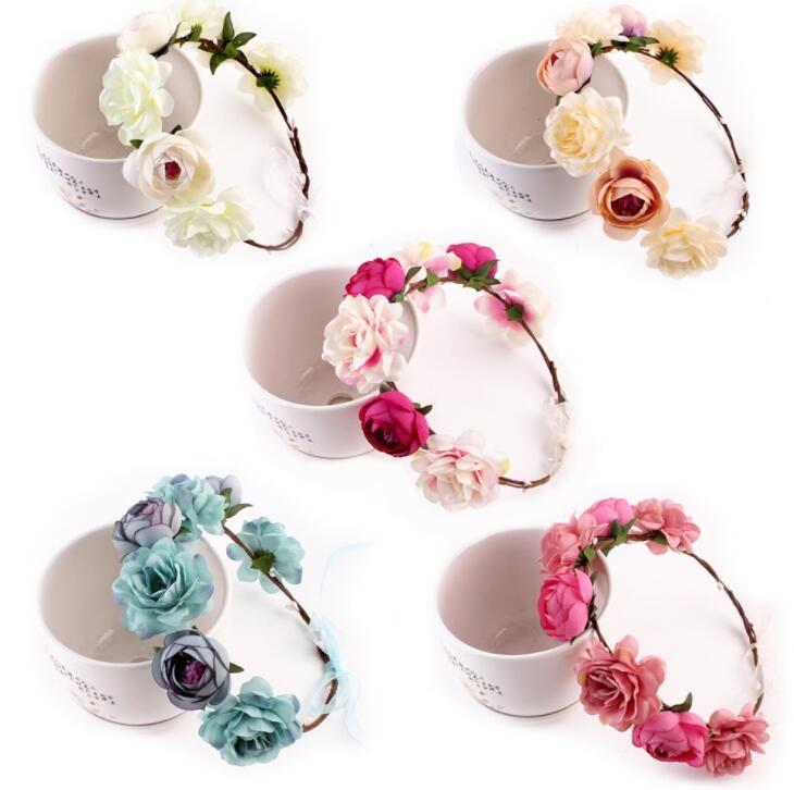 Kadın Kızlar için kumaş Çiçek Bantlar Gelin Düğün Çiçek Taç Bandı Alın Saç Bandı Festivali Çiçek çelenk