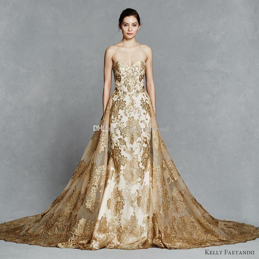 Großhandel Arab Dubai Gold Abnehmbare Zug Brautkleider 2018 Vestido ...