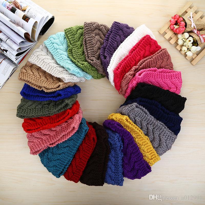 2017 Women Fashion Wool Crochet Headbands Knit Hair bands Flower Winter Ear Warmer Wool hair bands dhl