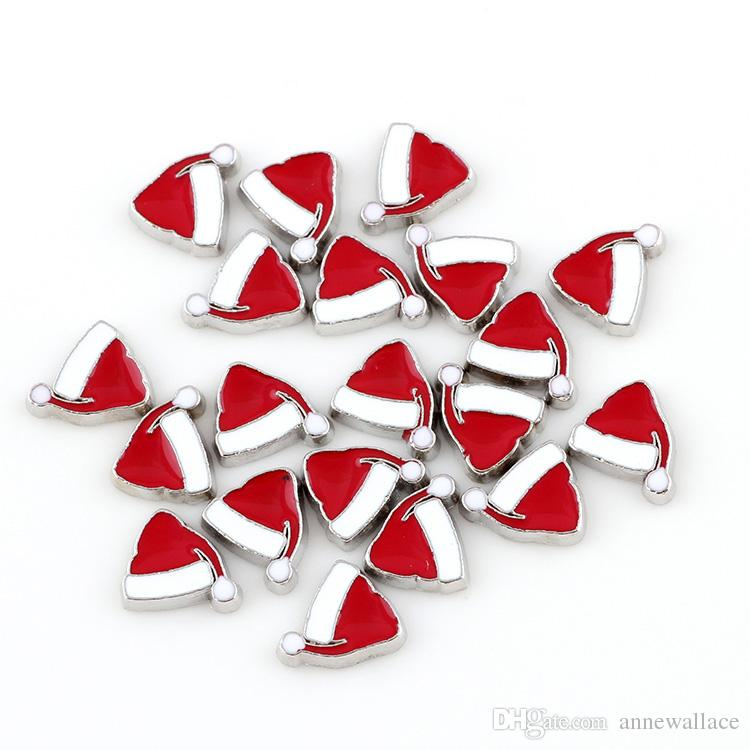 good quality new type Christmas hat floating charms for glass living memory lockets