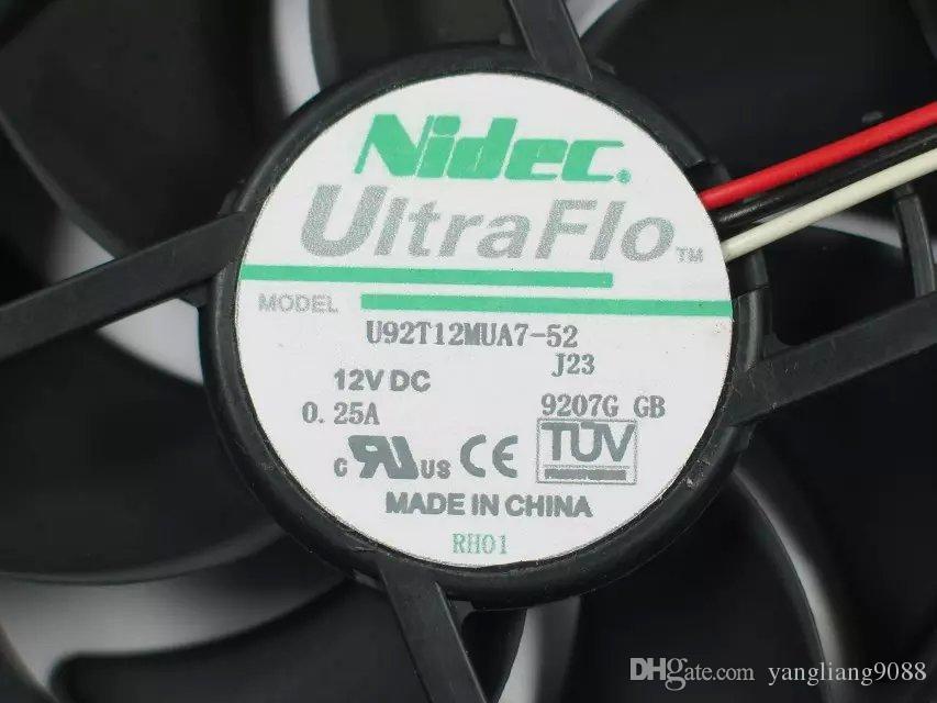 Freies Verschiffen für Nidec U92T12MUA7-52, J23 DC 12V 0,25 A 3-draht 85mm 90x90x25mm Server Platz Lüfter