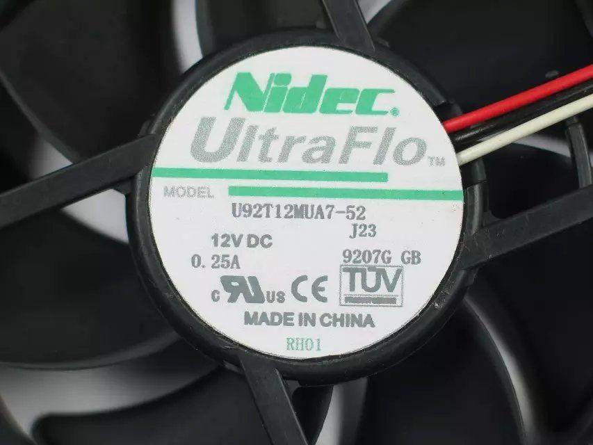 무료 배송 Nidec U92T12MUA7-52, J23 DC 12V 0.25A 3 선 85mm 90x90x25mm 서버 스퀘어 냉각 팬