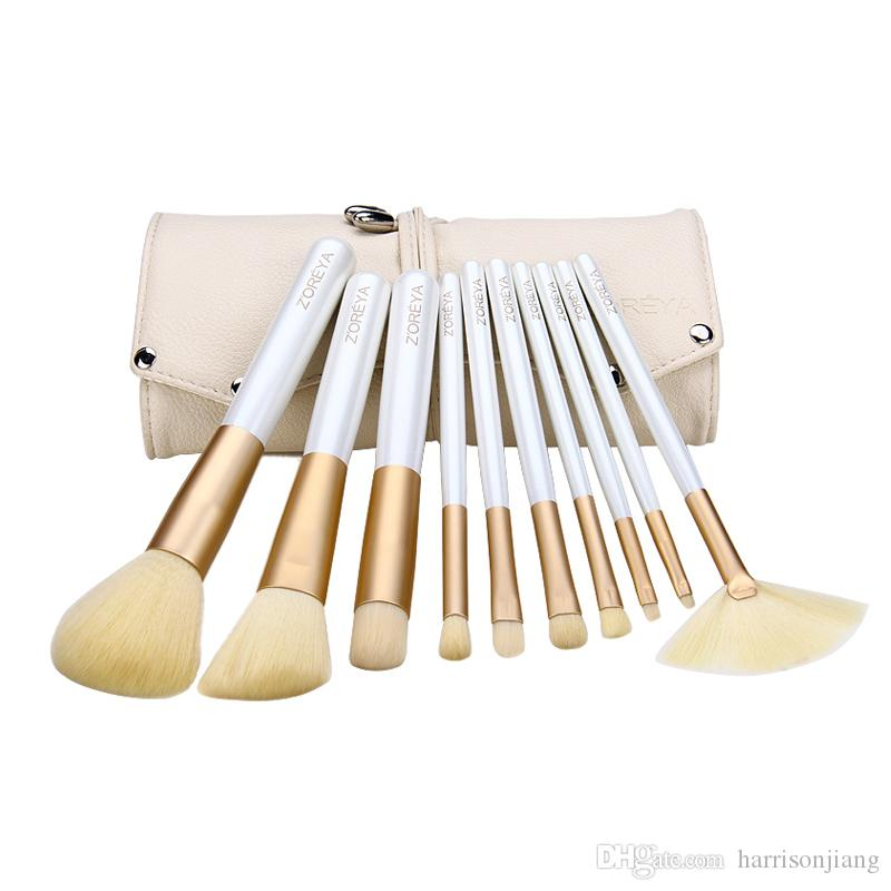 Zoreya 10 Pcs Fashion Make up Brushes Beige Professional Makeup Brush Set Essential Cosmetic Tool Kits