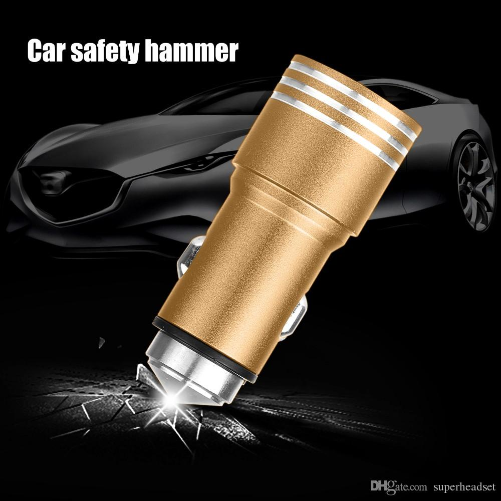 2 in 1 Aluminium Dual USB Car Charger Stainless Steel Emergency Hammer 5V 2.1A Cigarette Lighter Chargers