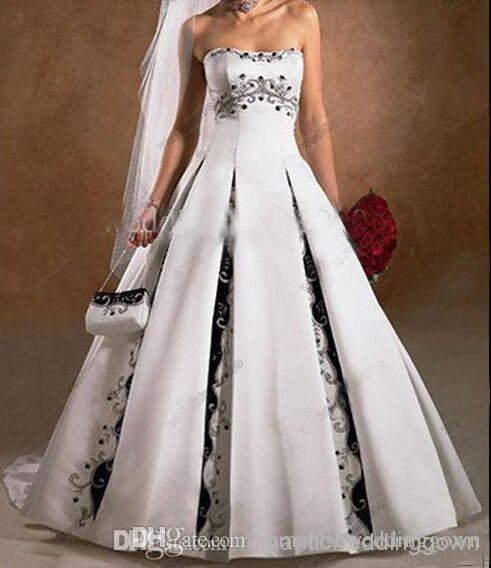 Wholesale A Line Strapless Court Train Satin Embroidery Sleeveless ...
