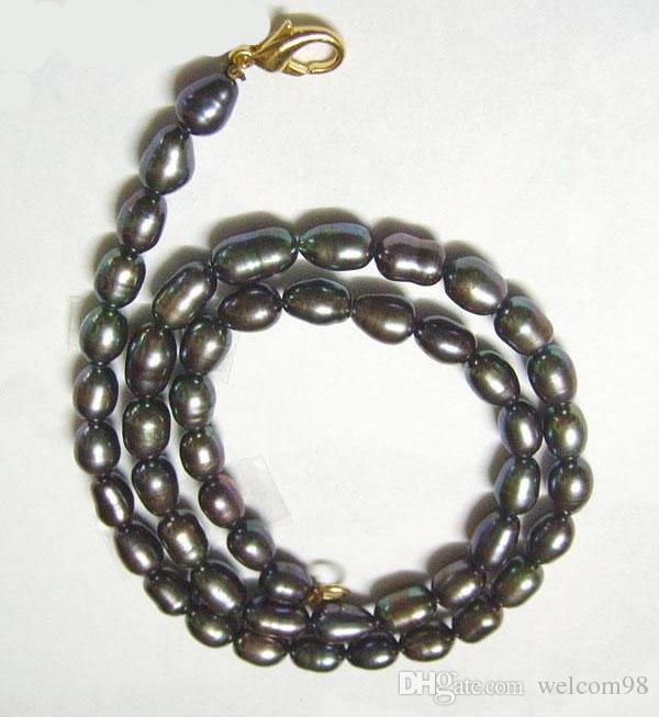 10 unids / lote Arroz Negro de Perlas de Agua Dulce Collar de Moda Broche de Langosta 16 pulgadas Para DIY Artesanía Joyería Gfit Envío Gratis P1