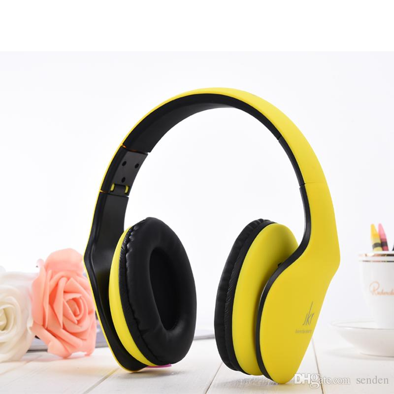 nuevo llega JKR-102 Auriculares con conexión de cable Auriculares de DJ Auriculares por encima del Oído Cancelación de ruido Auriculares plegables con Micrófono para el Teléfono Celular MP3 MP4
