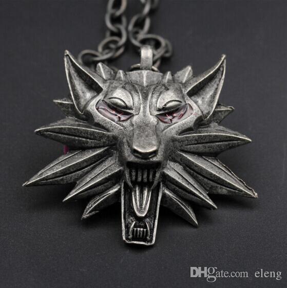 Nova venda quente pingente de bruxa Witcher 3 medalhão pingente de colar de cabeça de lobo colar U escolher cor Halloween colar pingentes GG08