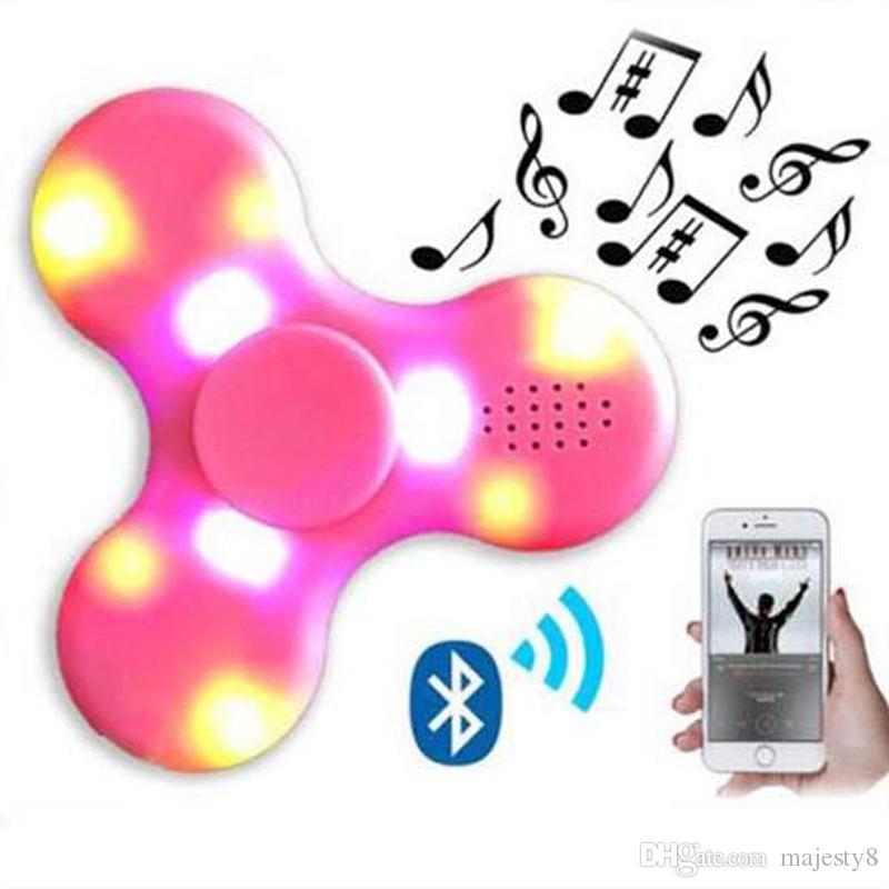 2017 LED Bluetooth música descompresión juguete mano Spinner punta de los dedos con Flash EDC mano Spinner plástico Fidgets juguetes DHL libre