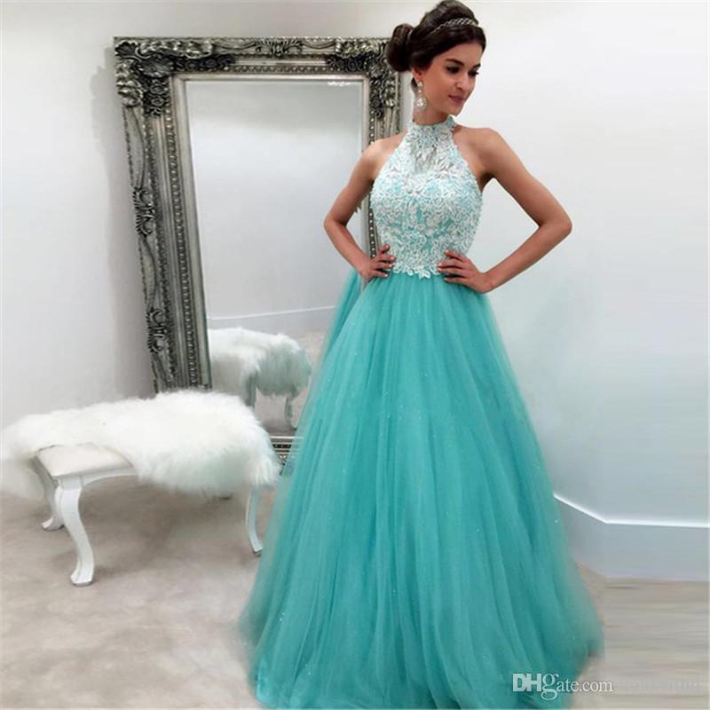 Hunter A Line Tulle Prom Dresses 2017 Halter