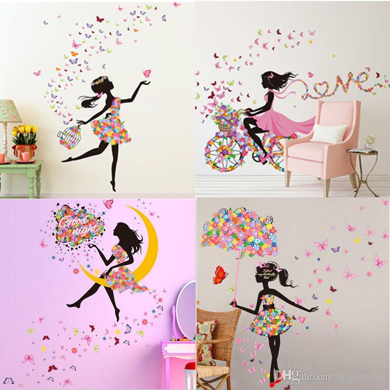 Beautiful Girl Fairy Butterfly Flowers Wall Stickers Background Corridor  Decorates Sitting Room The Bedroom Can Remove The Pvc Stickers Wall Decals  For Home ...
