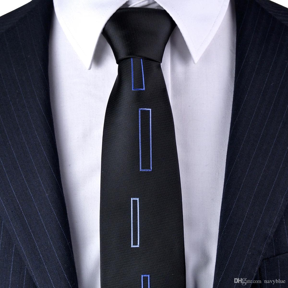 Skinny Tie Checked Solid Black Blue White Mens Ties Neckties 100