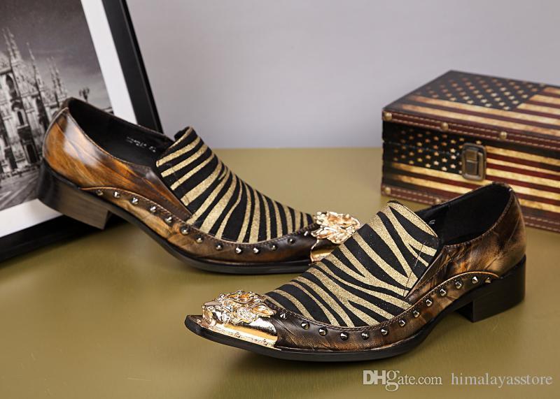 Sıcak Yaz Stili Erkek Gerçek Deri Elbise Ayakkabı Moda Günlük Zebra Çizgileri Ayakkabı Erkekler İngiliz Stili Kulübü Ayakkabı Slip