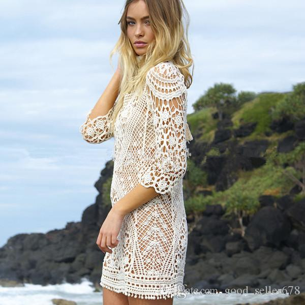 Fashion Women Bathing Suit Lace Crochet Bikini Cover Up Swimwear Summer Beach Dress White Boho Sexy Hollow Knit swimsuit