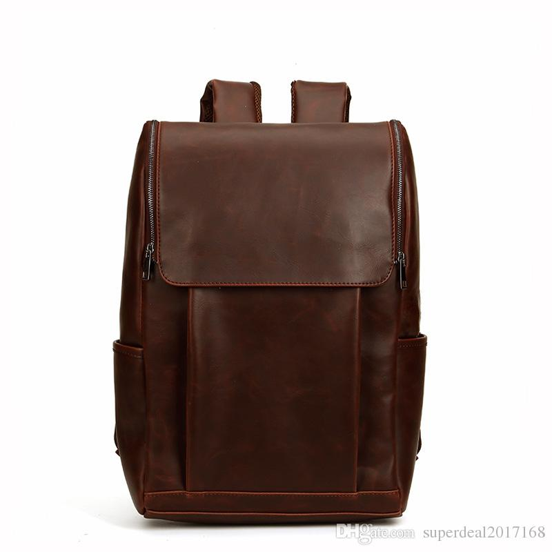 d406de0b6172 New Retro Mens Bags Crazy Horse Leather Men Travel Backpack In Europe And  The Leisure Outdoor Large Capacity Color Matching Men Backpack Best Backpack  ...