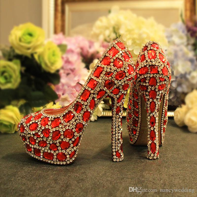 Newest Arrived Seven Kinds of Heel Height Red With Silver Color Rhinestone Bridesmaid Wedding Shoes Party Prom High Heels Anniversary