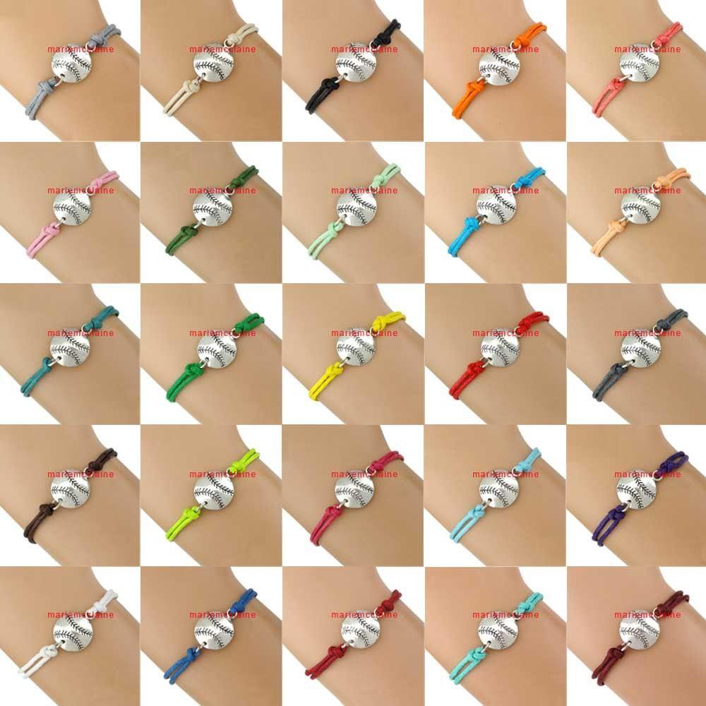 Baseball Charm Wrap Bracelets Softball Pendants Bracelets Sport Bracelets  Wax Cords Unisex Women Men Girl Lady Jewelry Gift Custom Colors Watch Charm