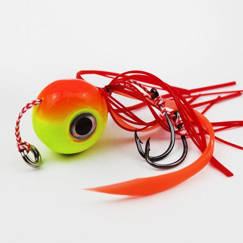 80g Orange Jigs Hook Fishing Hooks Fishhooks Metal Baits & Lures Artificial Bait Pesca Fishing Tackle Accessories