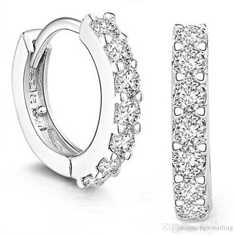 c2ad0a596 Good Quality 925 Sterling Silver Small Hoop Earrings with Zircon ...