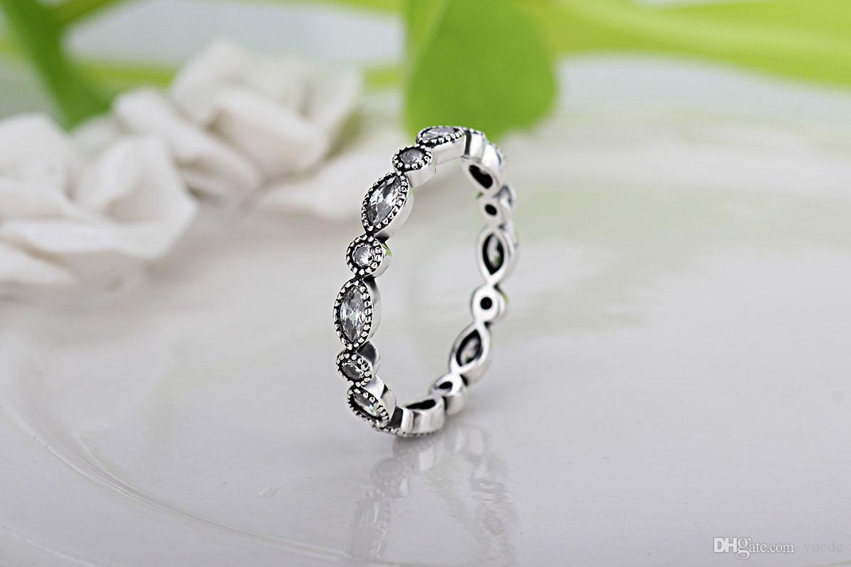 all'ingrosso nuovo diamante europeo retrò 925 argento firma pavimenta anello tondo misura Pandora cubic zirconia anniversario gioielli donne sciacqui