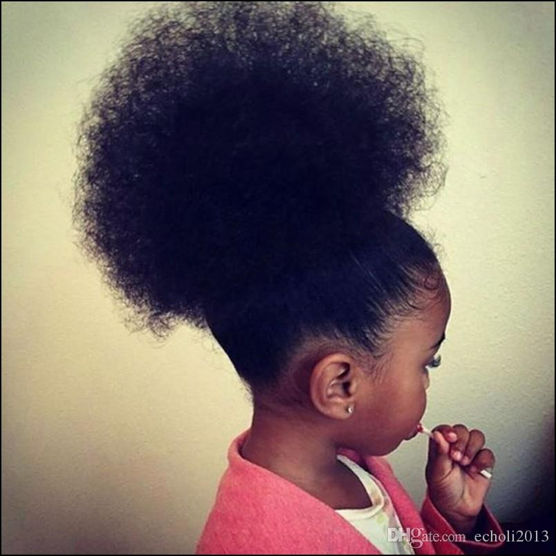 Human Hair Ponytail Hairpieces Clip In Short High Afro