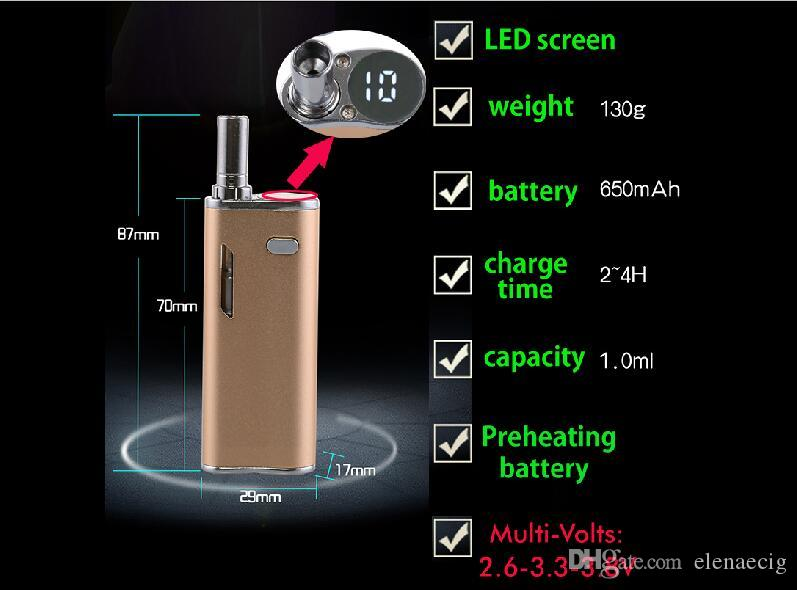 Variable Voltage H10 Mystica VV Mini Vaporizer Cartridge Oil BUD Starter Kit 650mah Box Mod Gold Vape Pen Cartridges With CE3 Atomizer
