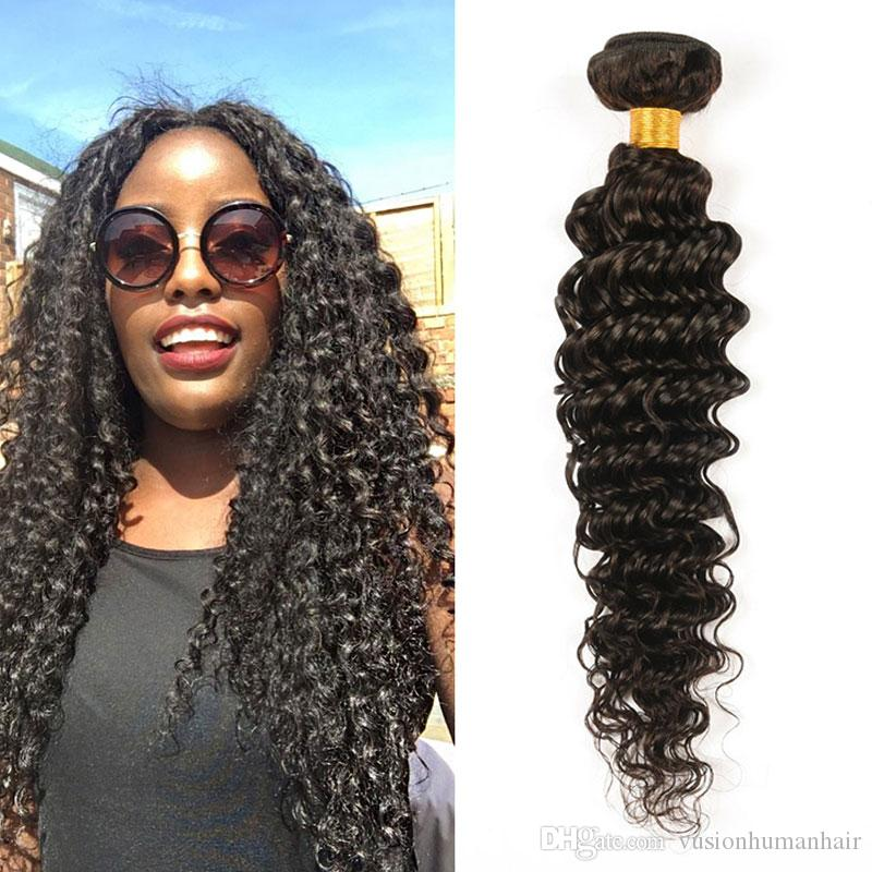 Hot Sale Deep Wave Curly Hair Weaves One Piece Pack 7a Virgin Hair Deep  Wave Malaysian Weave Natural Black Cheap Human Hair Bundle Curly Hair Weaves  Curly ... 7e65c0d60411