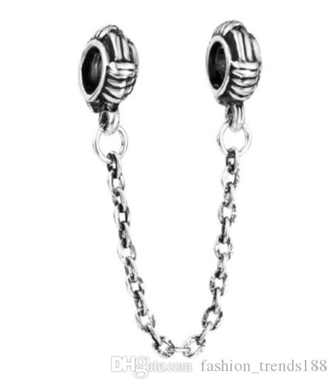 1f6fab199 Cheap Fits Pandora Bracelets Silver Rope Weaving Safety Chain Charm Bead  Stopper Beads For Wholesale Diy European Sterling Necklace