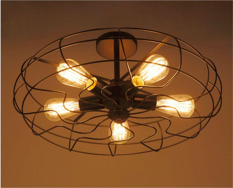 vintage ceiling lighting. Discount Loft Vintage Ceiling Light Fan Style E27 Edison Bulb 5 Industrial Lighting Restaurant Lamps W48cm Outdoor Pendant Lights